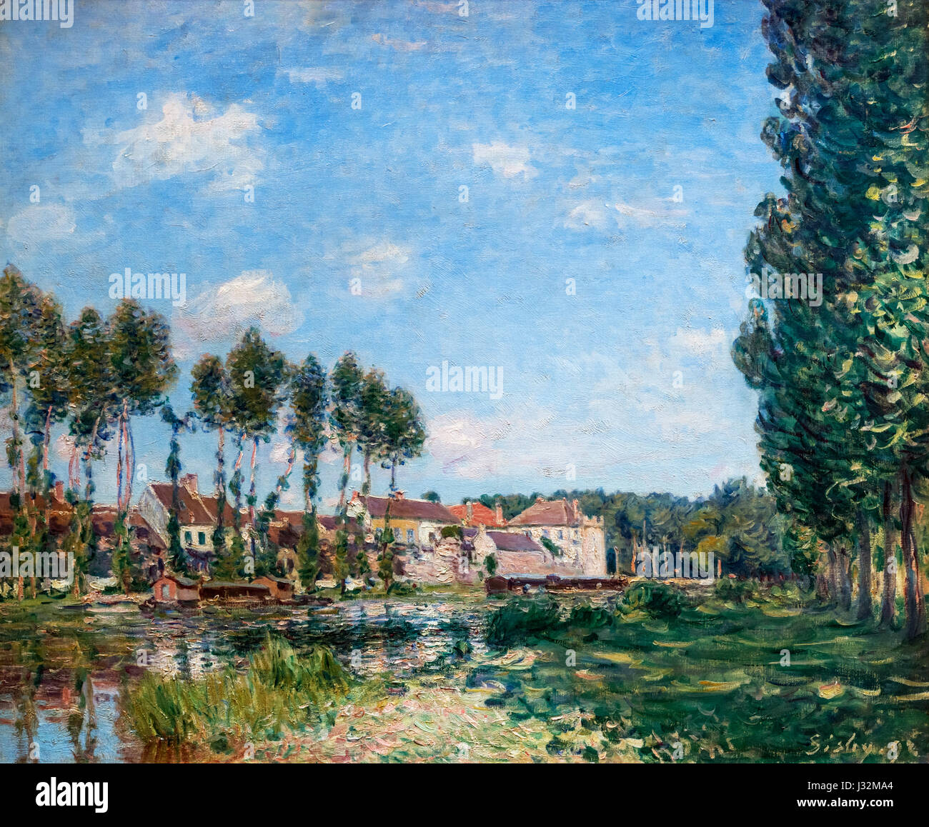 "Alfred Sisley. Painting entitled ""Moret, Bords du Laing"" by Alfred Sisley (1839-1899), oil on canvas, 1892 Stock Photo"