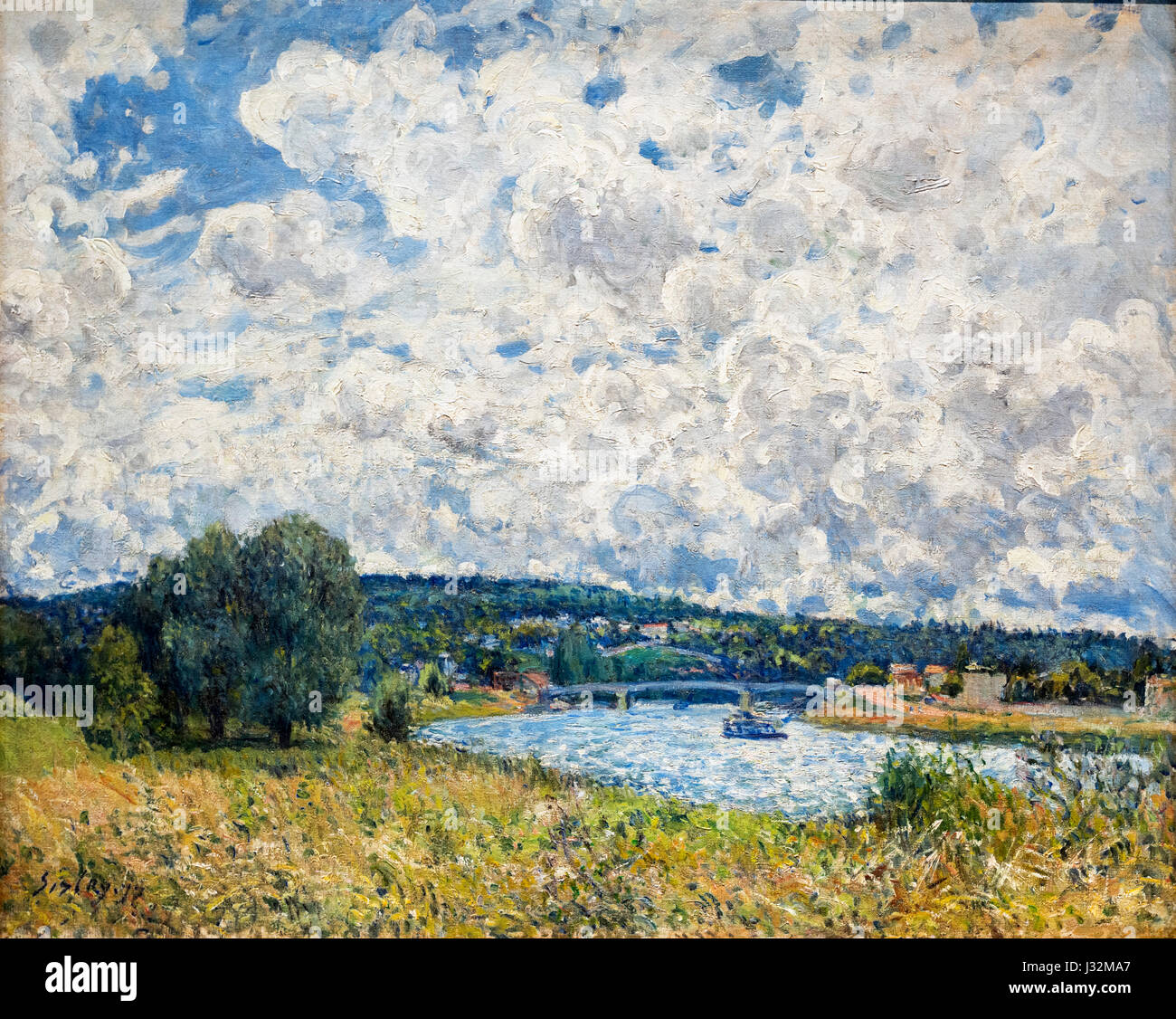 Alfred Sisley. Painting entitled 'La Seine a Suresnes' by Alfred Sisley (1839-1899), oil on canvas, 1877 - Stock Image