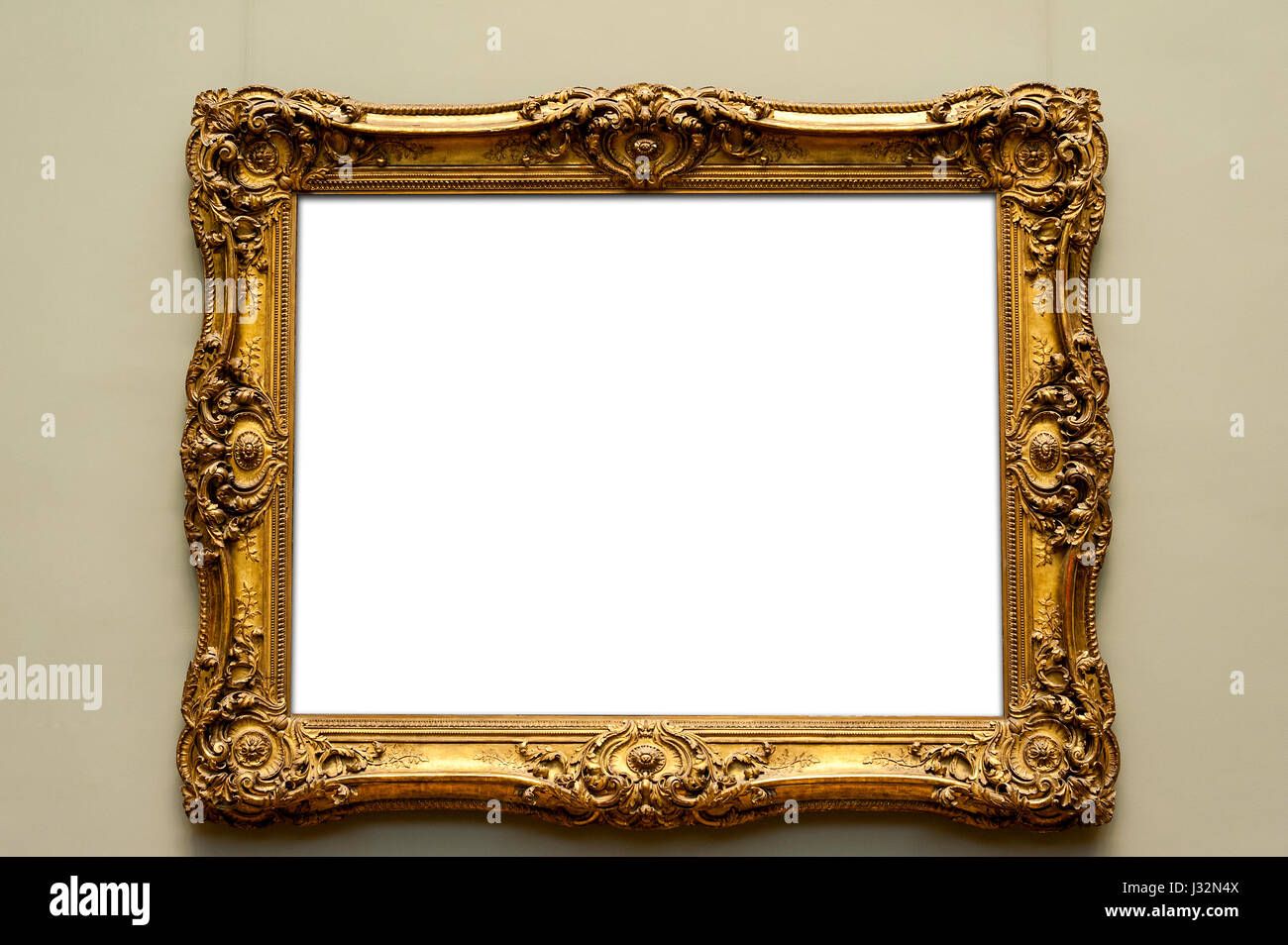 f96ee03398a8 antique golden frame isolated with white inside for your copyspace - Stock  Image