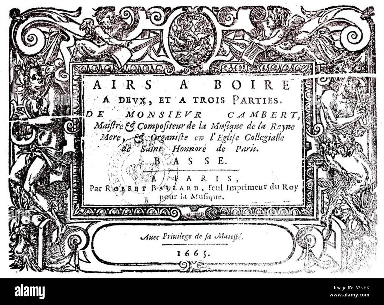 Cambert - Airs 1665 - Stock Image