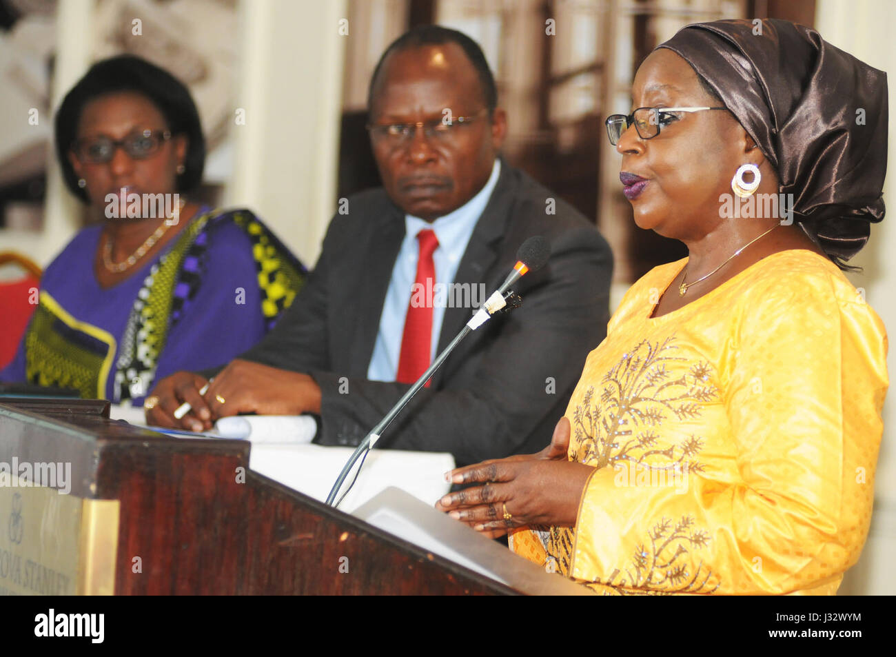 Acting Director Administration and Human Resources Management, African Union, Rekia Mahamoudou, giving a speech - Stock Image