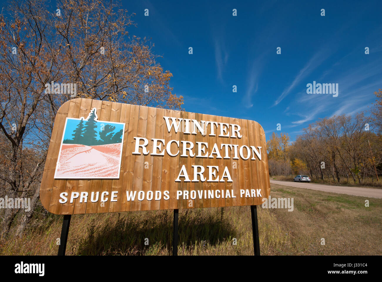 Sign at Spruce Woods Provincial Park (winter recreation area), Manitoba, Canada - Stock Image