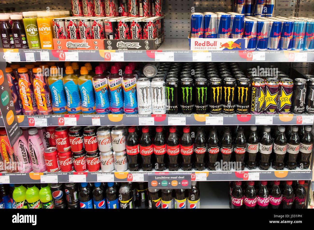 Fizzy Drinks On Sale On A Supermarket Shelf Stock Photo