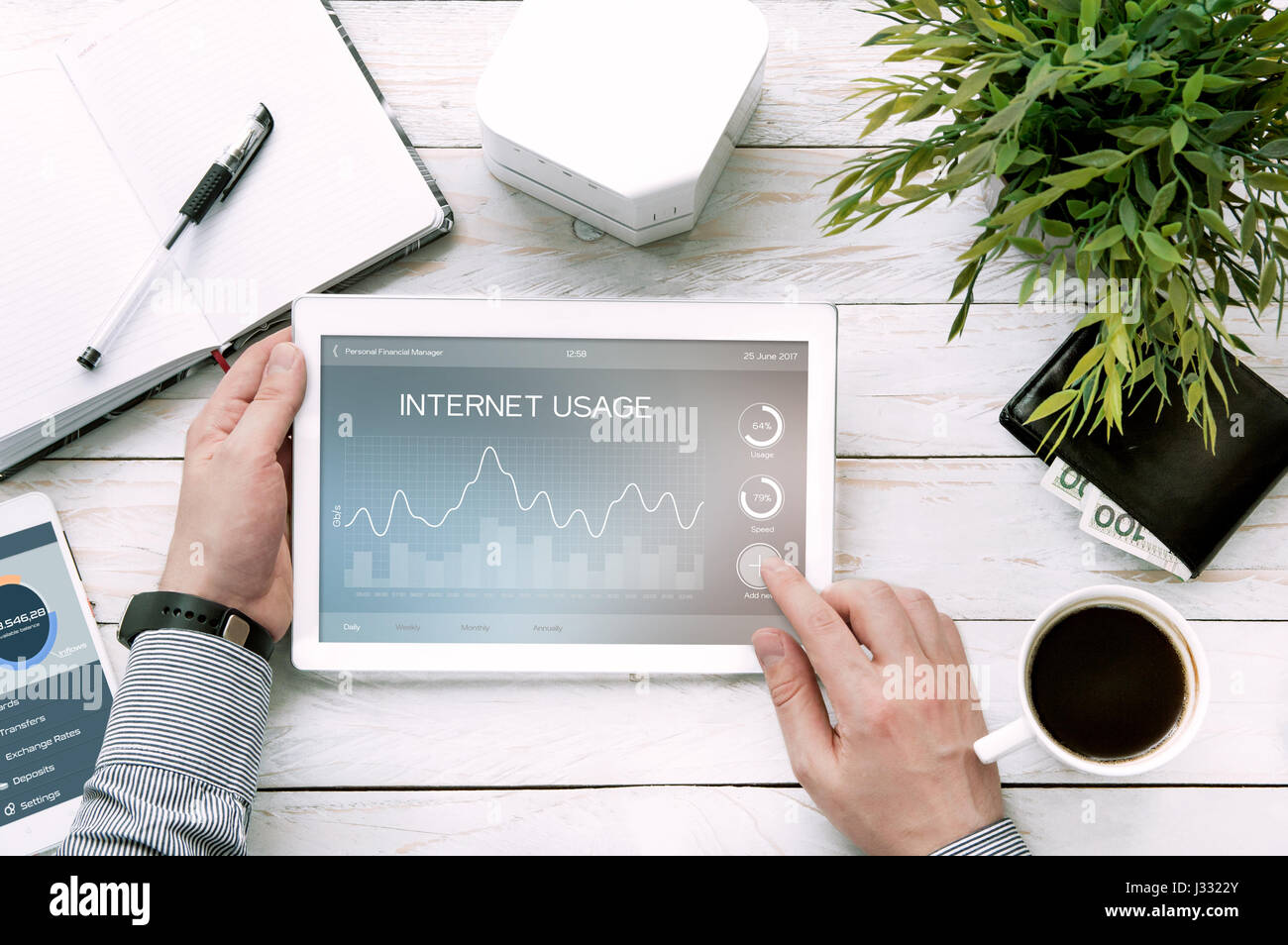 Man holds tablet pc with internet usage application made in graphic program - Stock Image