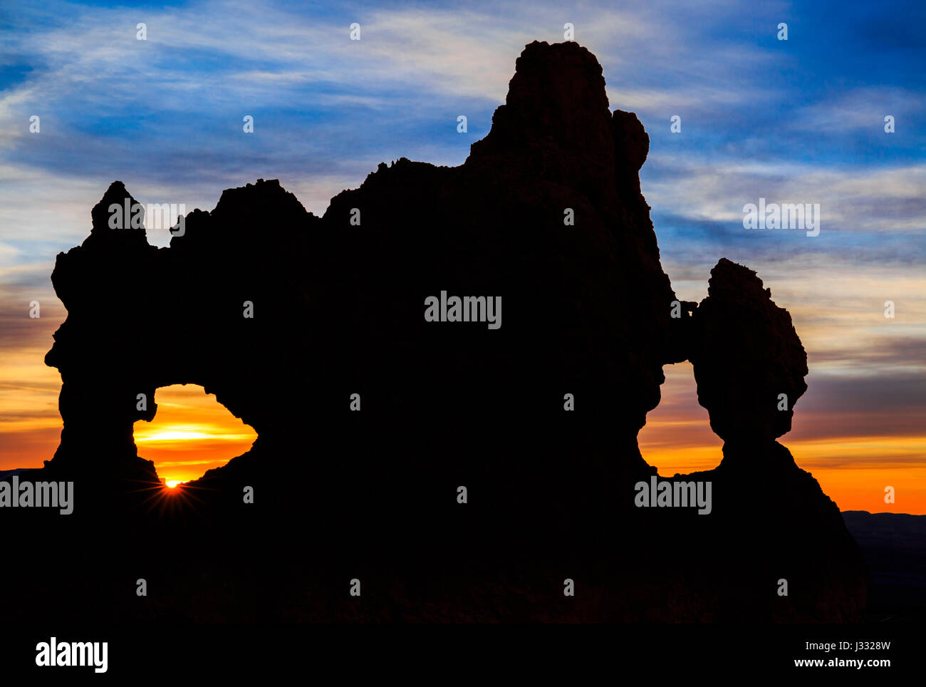 double window at sunrise in bryce canyon national park, utah Stock Photo