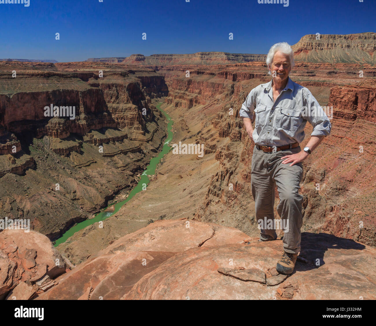 self portrait of john lambing above the fishtail rapids area of the colorado river in grand canyon national park, arizona Stock Photo
