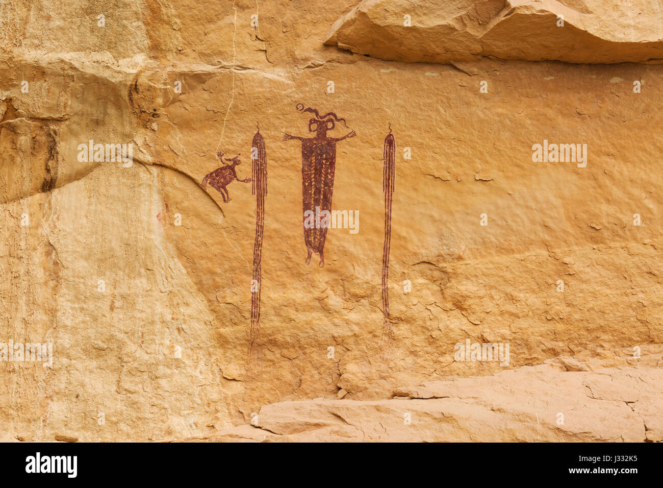 head of sinbad pictograph panel in emery county near green river, utah - Stock Image