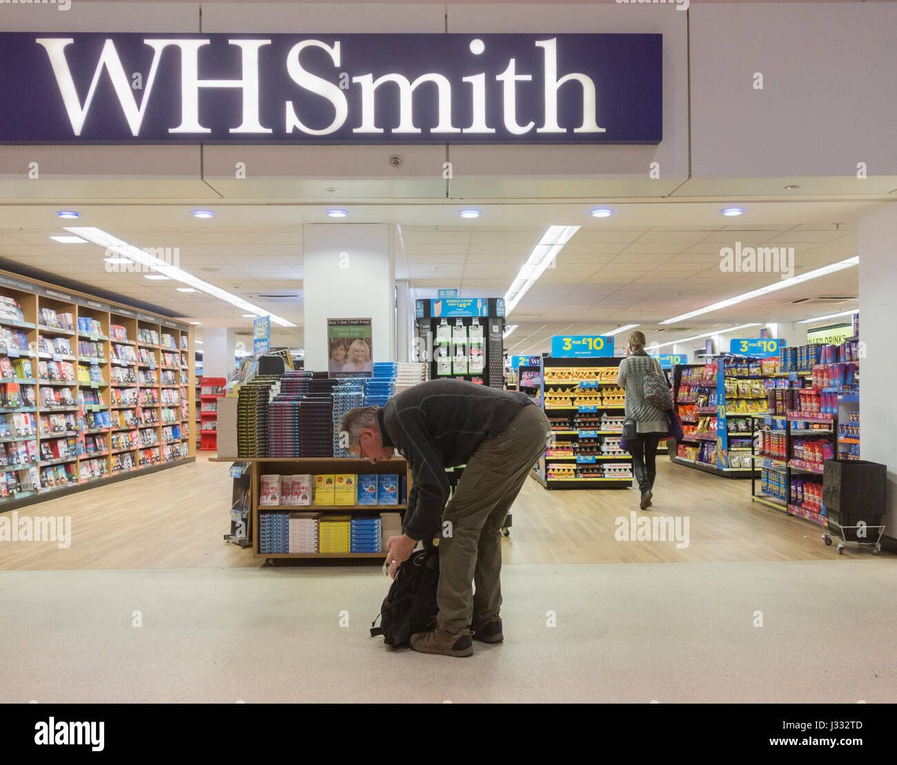 WH Smith shop at Manchester airport duty free zone. UK - Stock Image