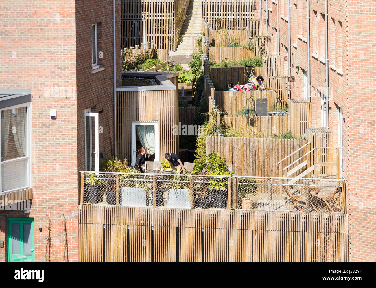 Ouseburn, Newcastle upon Tyne, UK. The Malings, new eco friendly housing development - Stock Image