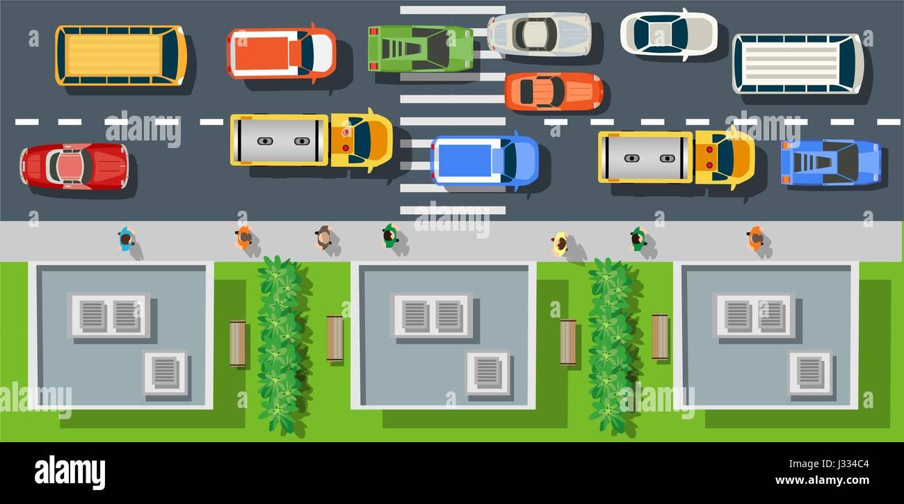 city street with asphalt - Stock Vector