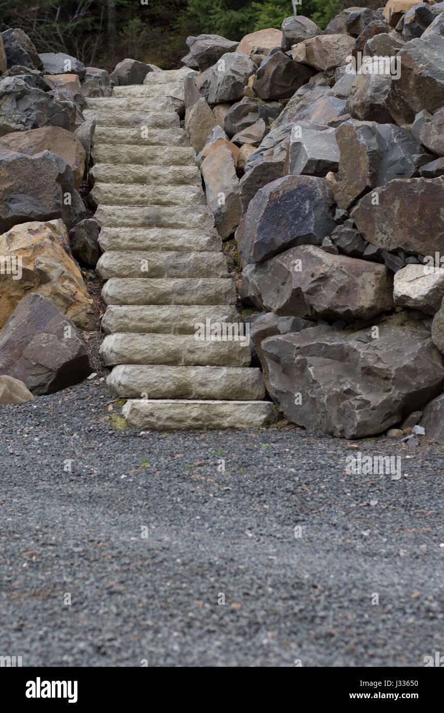 Beautiful white stone stairway. - Stock Image