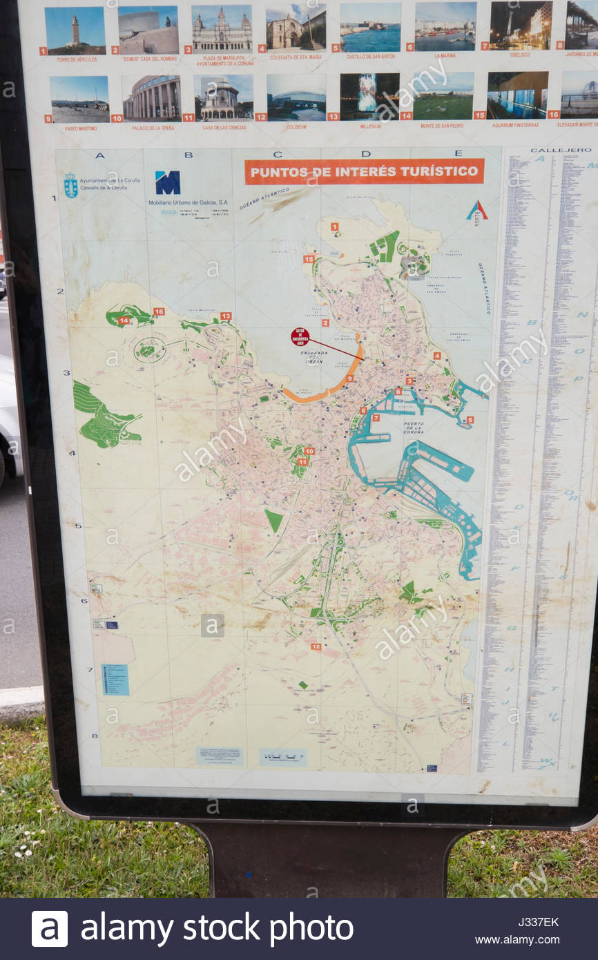 A Coruña Mapa Turistico.Map With Points Of Interest A Coruna Galicia Spain Stock