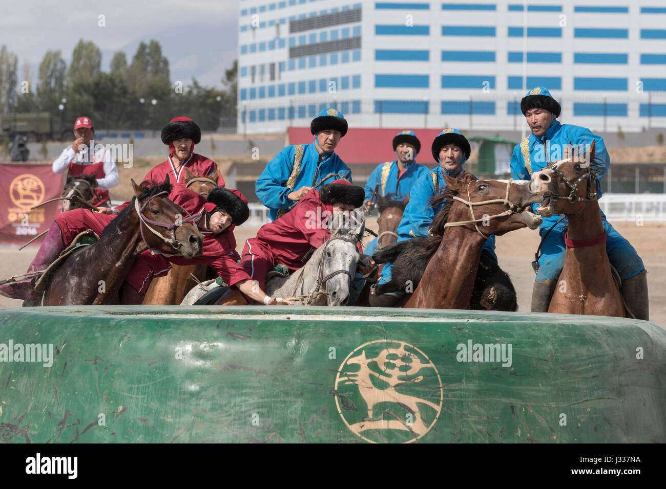 With its first ever kok boru team, USA played against Russia last week at the World Nomad Games in Kyrgyzstan. Many - Stock Image