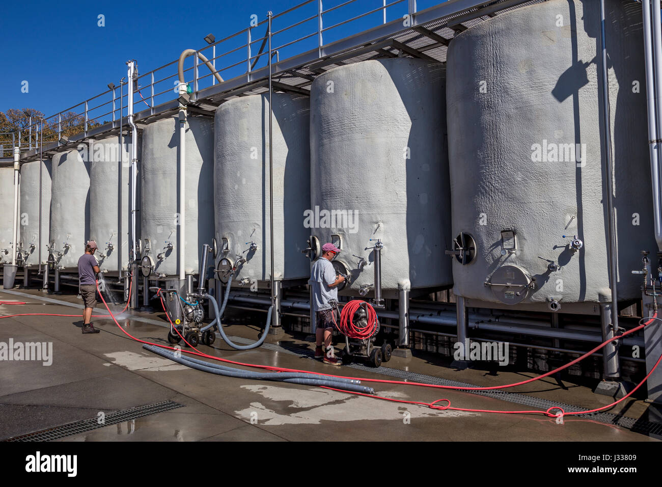 fermentation tanks, fermentation area, Imagery Estate Winery, Glen Ellen, Sonoma Valley, Sonoma County, California - Stock Image