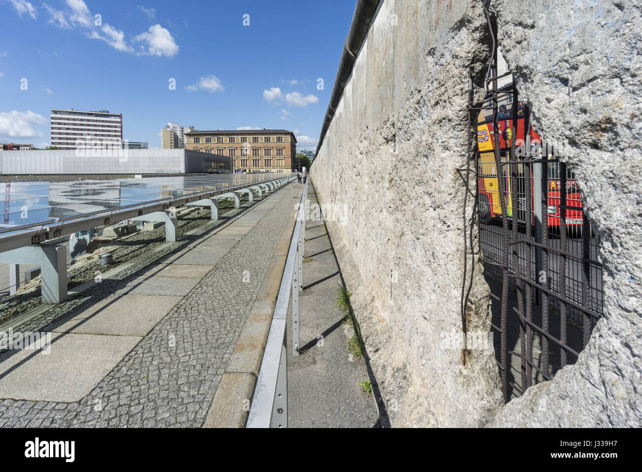 Topography of Terror and Berlin Wall, Documentation Center of Nazi Terror, Berlin Wall, Berlin, Germany - Stock Image