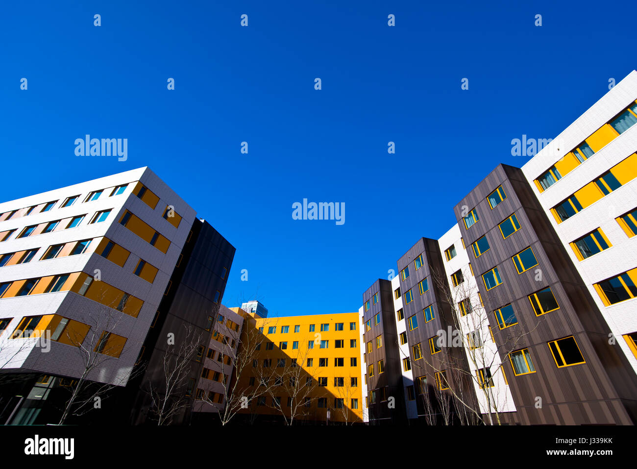 Modern and stylish multistory buildings white yellow and brown colors strict urban design with rectangles of windows, - Stock Image