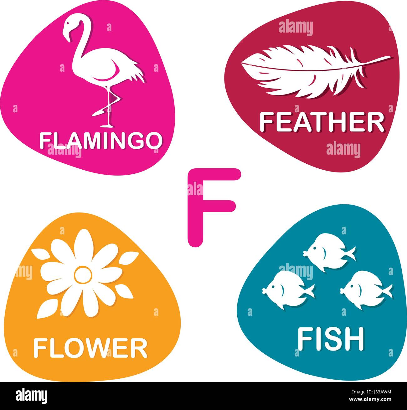 Cute alphabet in vector f letter for flamingo feather flower and cute alphabet in vector f letter for flamingo feather flower and fish altavistaventures Image collections