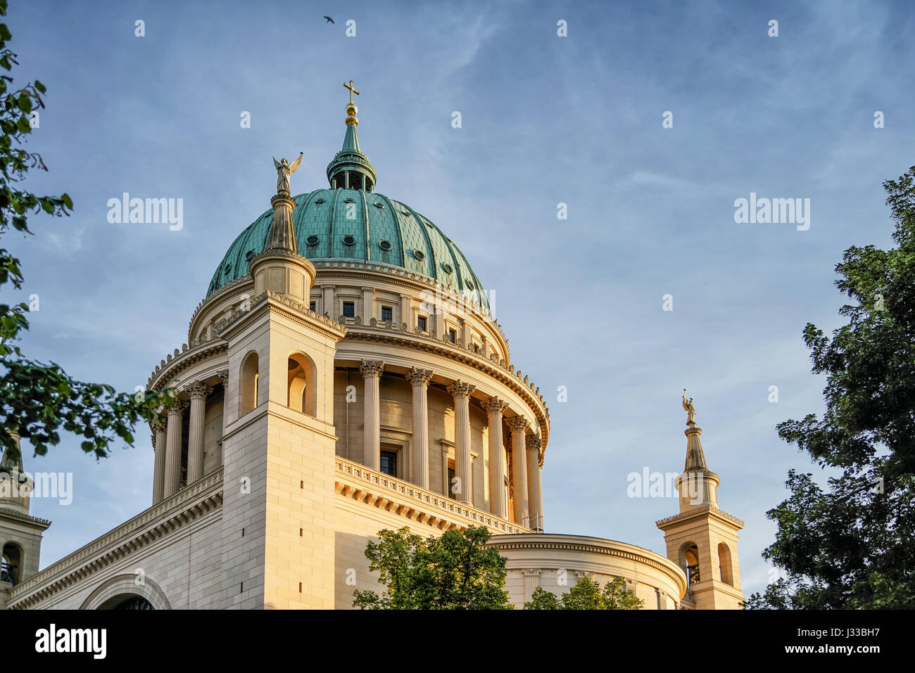 Dome of St. Nicholas church, Nikolaikirche, Alter Markt, Potsdam, Brandenburg, Germany - Stock Image