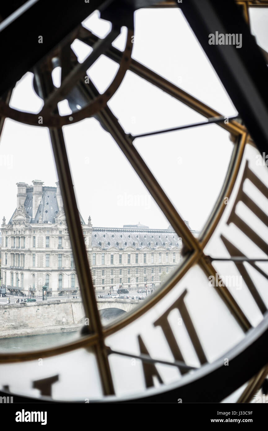 Old station clock, Museum d'Orsay, Paris, France - Stock Image