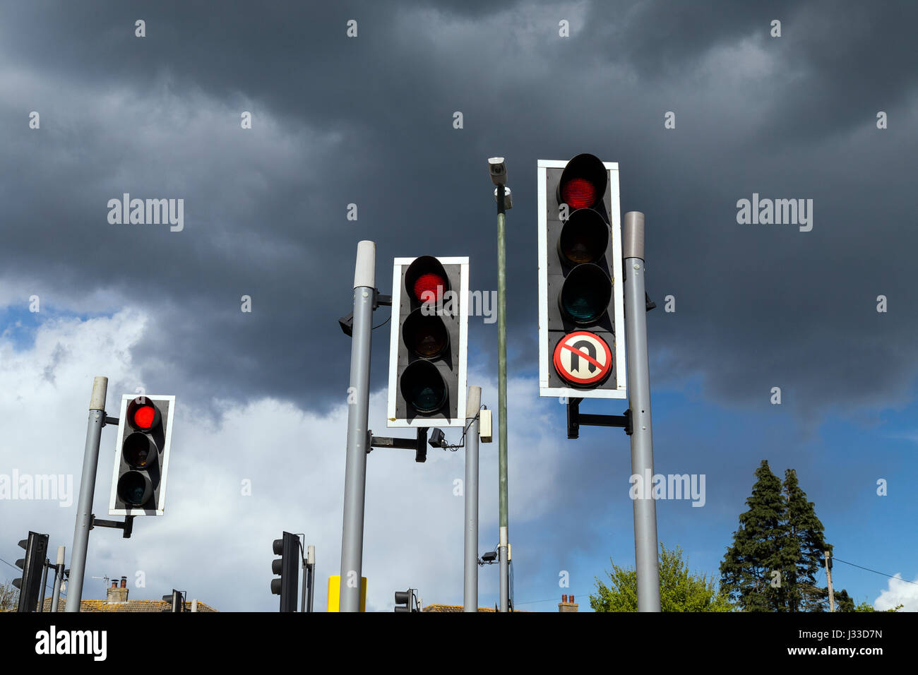 control, controlling, device, driving, england, english, flow, from, illumination, in, lamps, light, lights, proceeding, - Stock Image