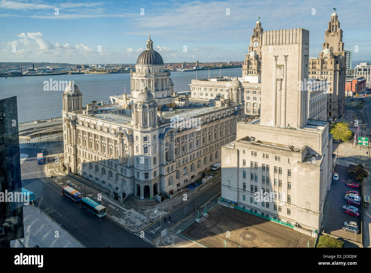 Liverpool waterfront buildings the Three Graces from an unusual angle. - Stock Image