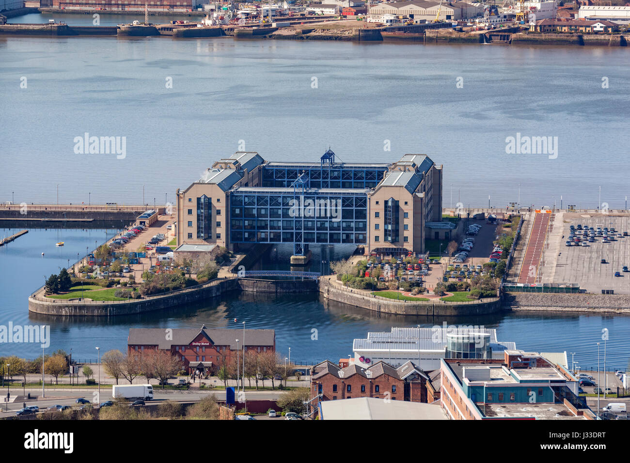The former HMRC building on Queens Dock. Now converted to apartments. - Stock Image