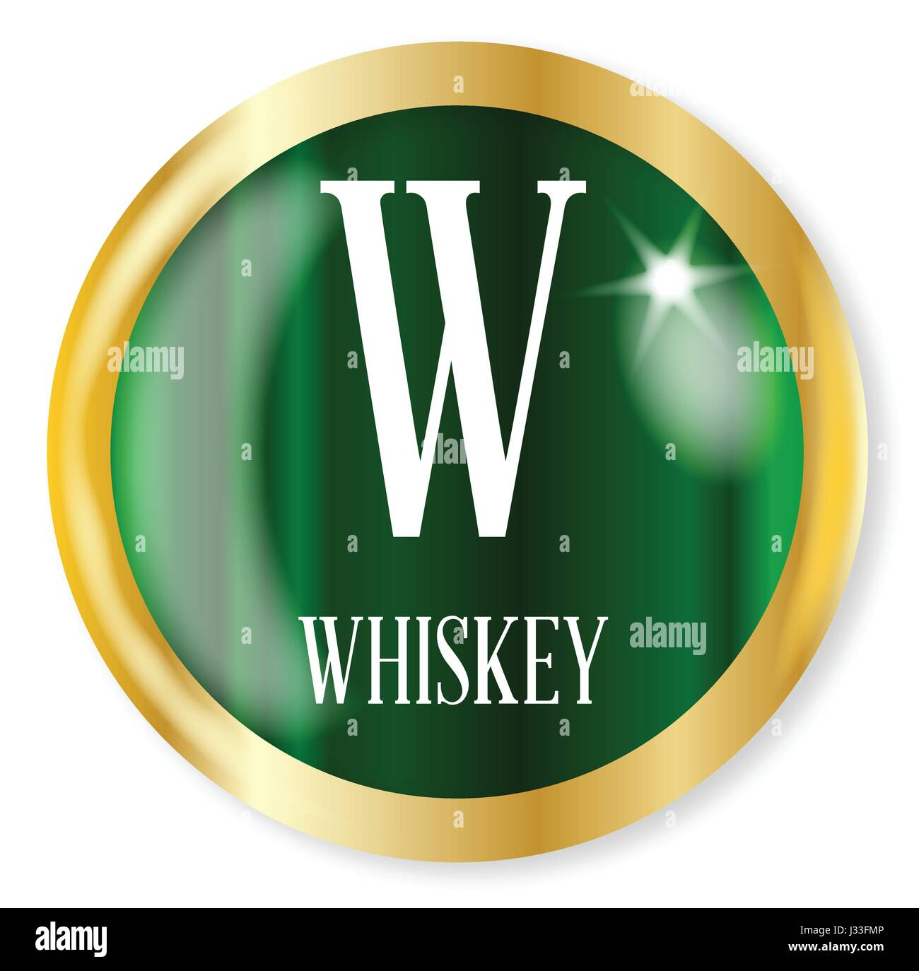 W For Whiskey Button From The Nato Phonetic Alphabet With A Gold Stock Vector Image Art Alamy