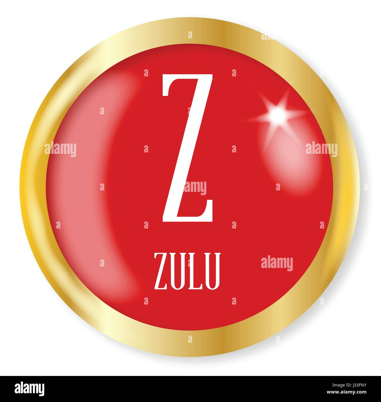 Z For Zulu Button From The Nato Phonetic Alphabet With A Gold Metal Stock Vector Image Art Alamy