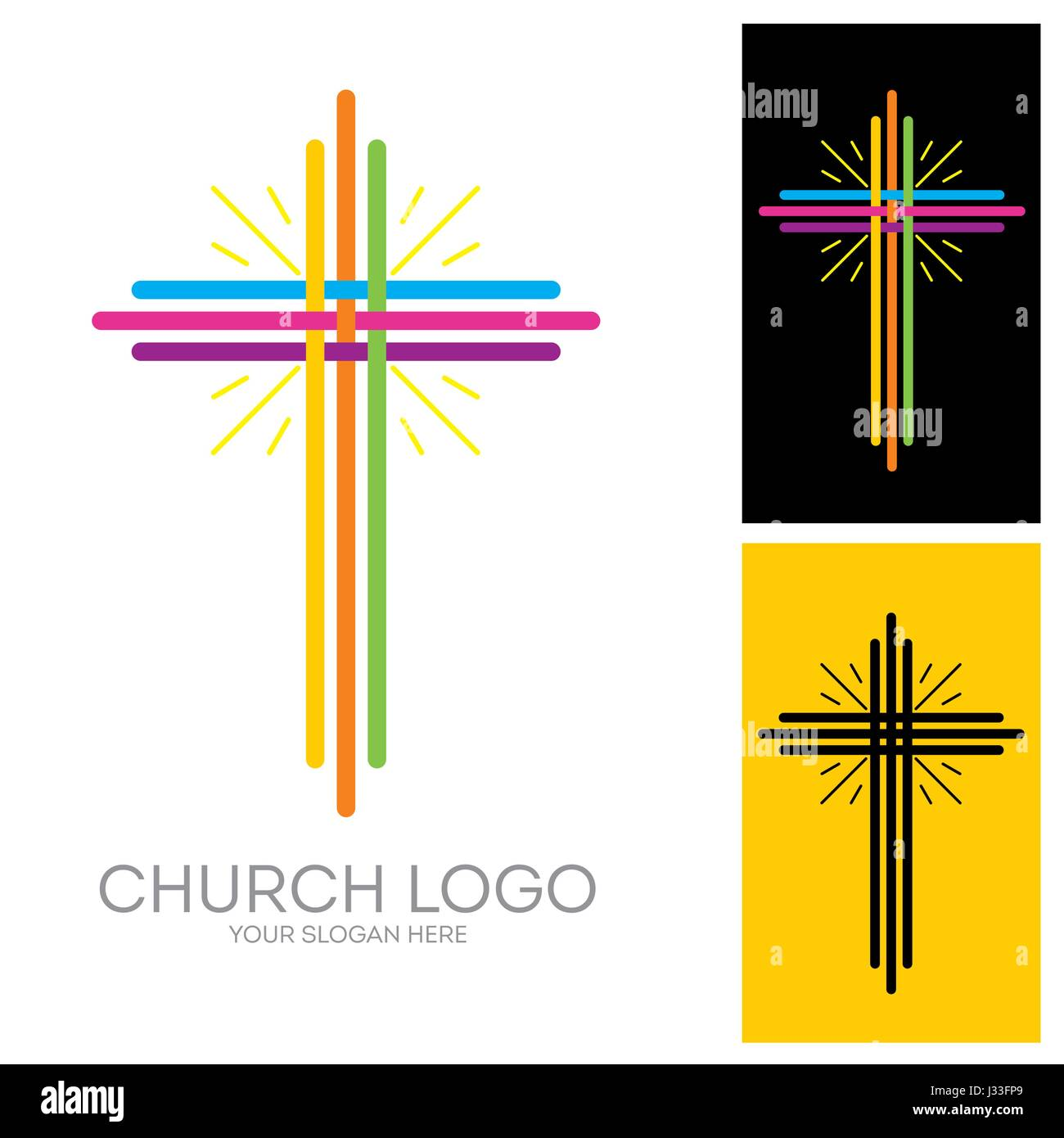 Church Logo Christian Symbols The Cross Of Jesus Multicolored