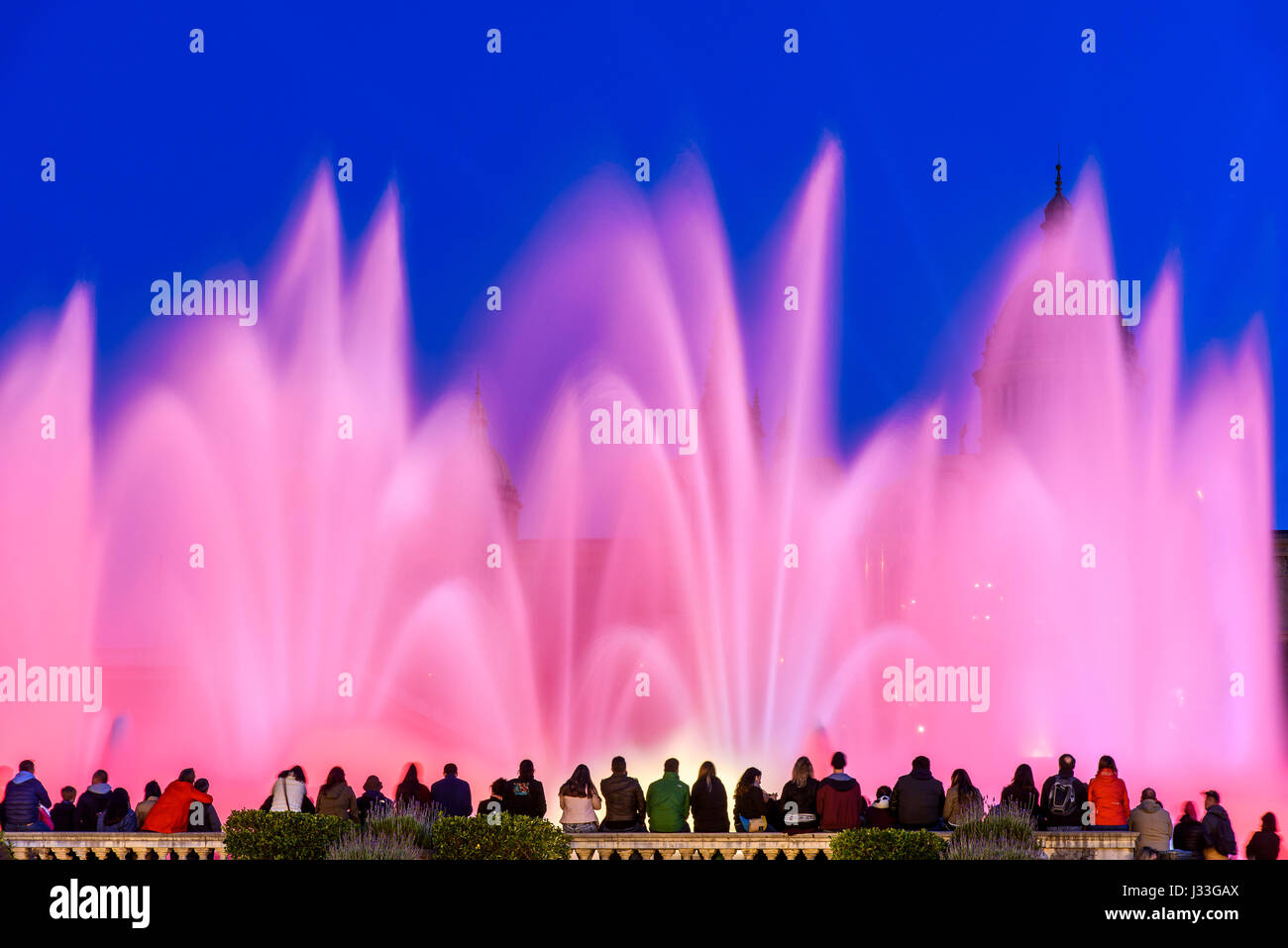 Night light show at Magic Fountain or Font Magica, Barcelona, Catalonia, Spain - Stock Image
