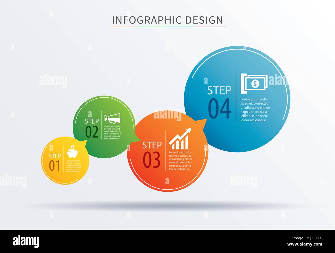 infographics circle number 4 step template. Vector illustration background. Can be used for workflow layout, diagram, - Stock Image