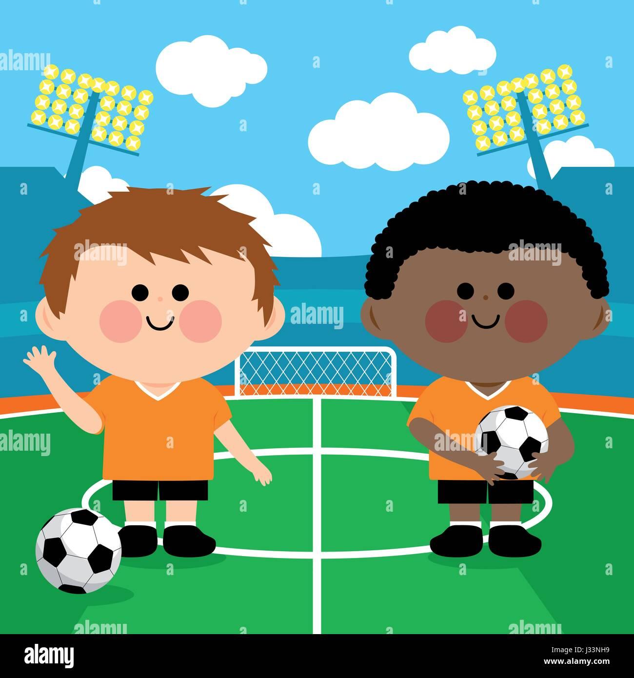 Children soccer players in a stadium. Vector illustration - Stock Vector