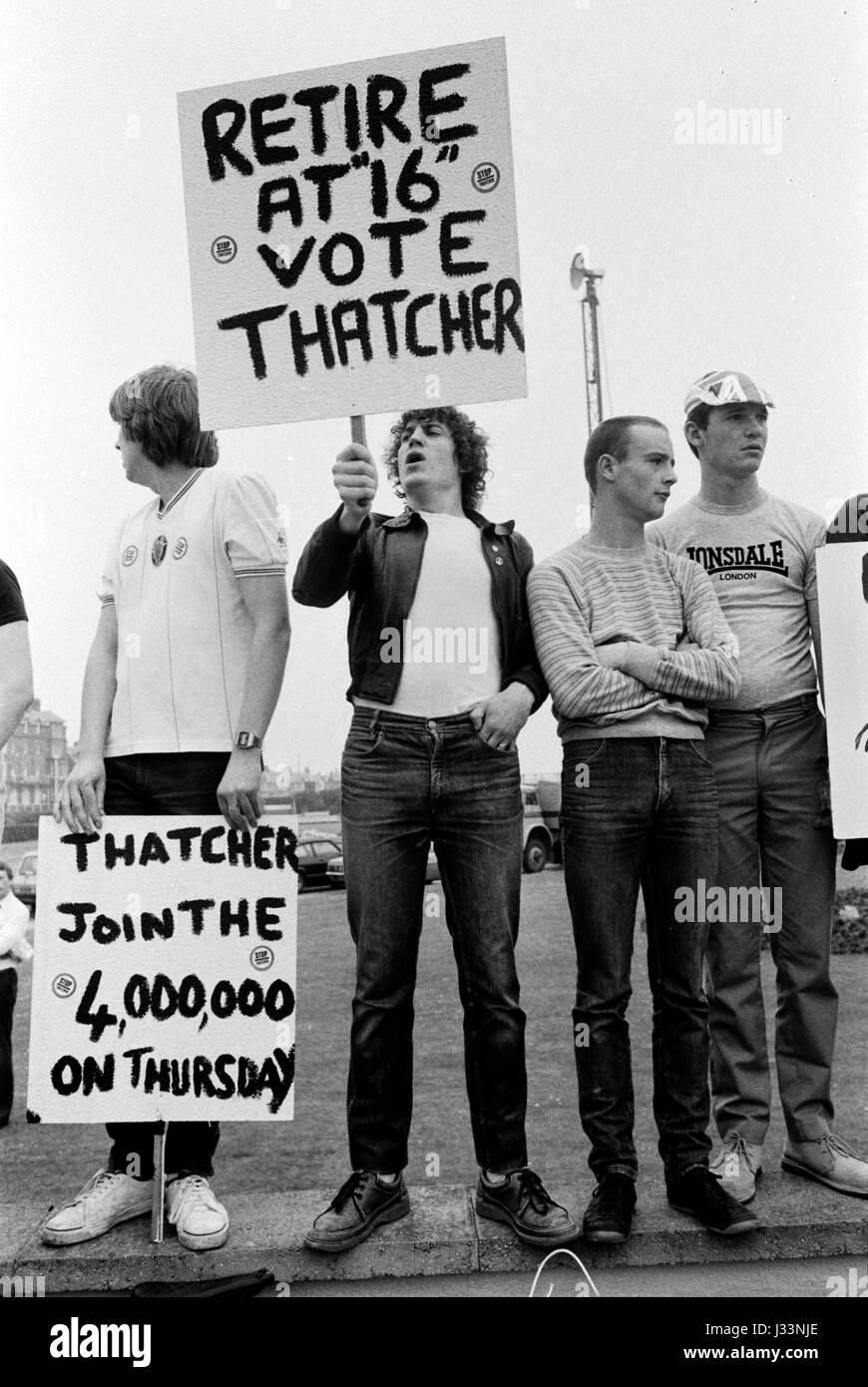 General Election 1983 Uk Thatcher unemployment demonstration about job prospective for school leavers 1980s HOMER - Stock Image