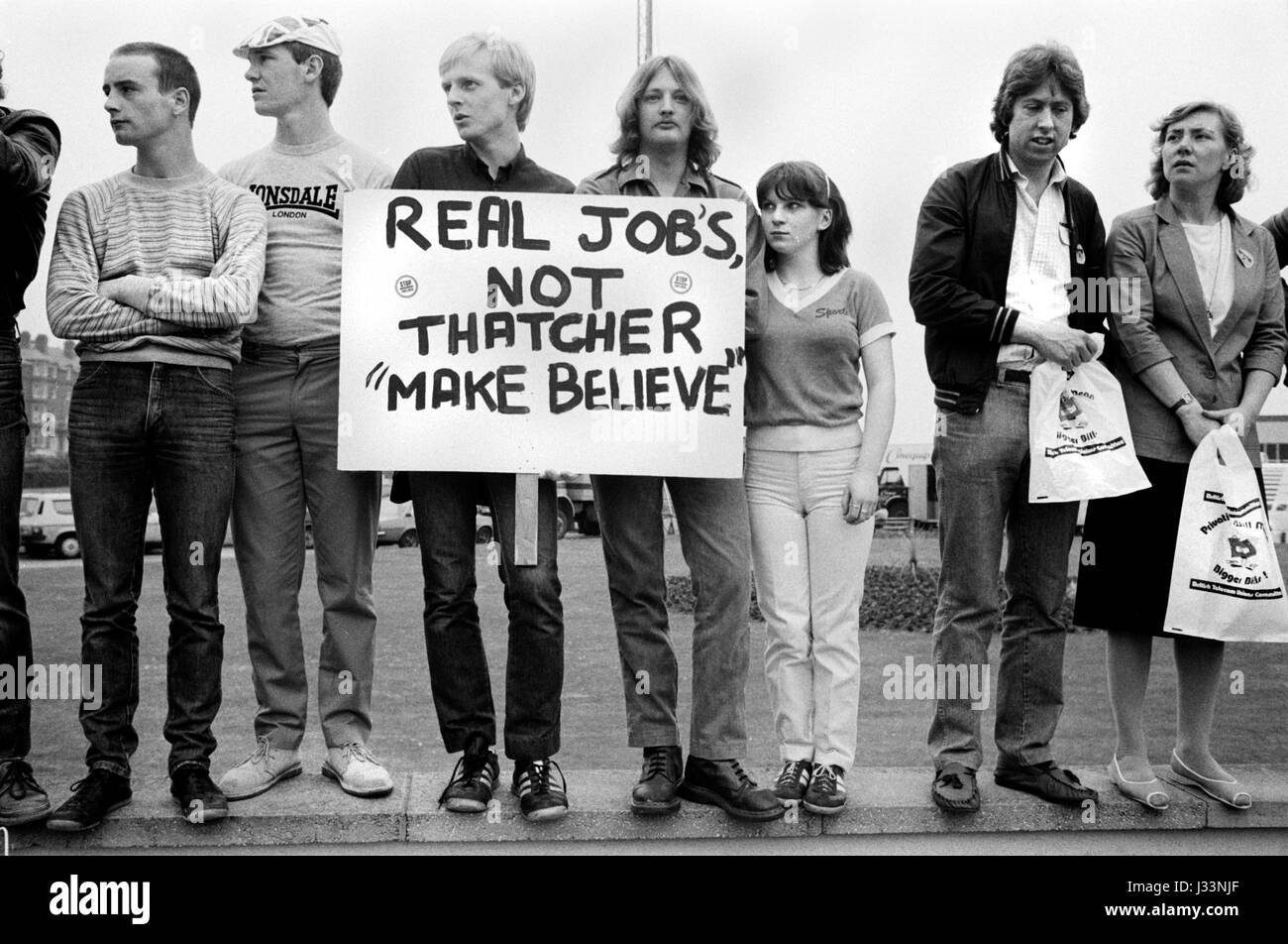 General Election 1983 Uk. Students and young adults demonstrate against the lack of job opportunities in Britain - Stock Image