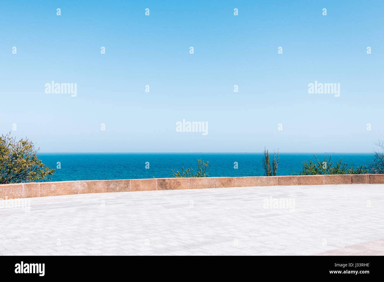 Sea view from the terrace on a sunny day, minimalist landscape Stock Photo