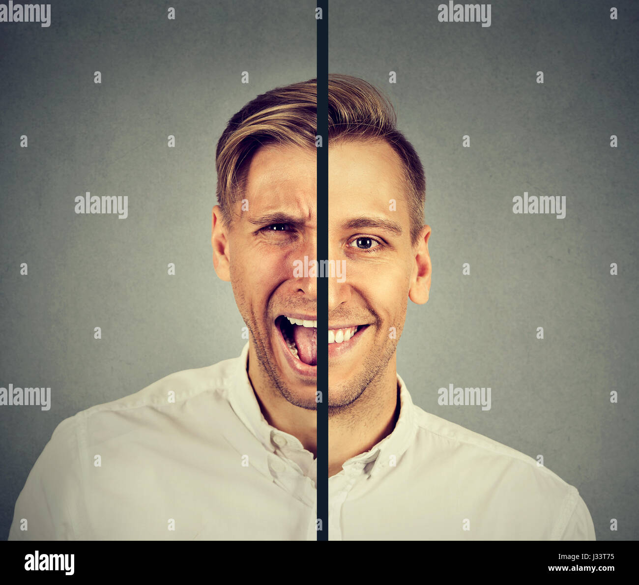 Bipolar disorder concept. Young man with double face expression isolated on gray background - Stock Image