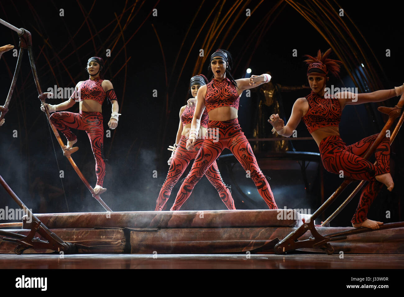 The Cirque du Soleil franchise entertainment company feats its latest show AmaLuna based on Shakespeare ' The - Stock Image