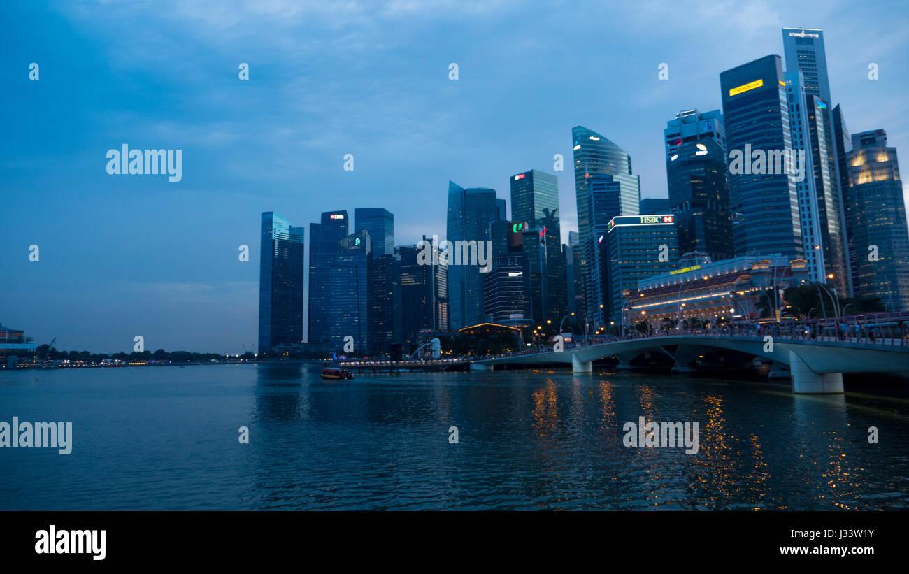 Singapore Marina Bay Area - Stock Image