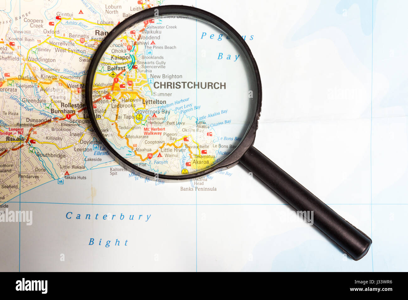 Map Of New Zealand Christchurch.Map Of New Zealand With Magnifying Glass Focusing On Christchurch