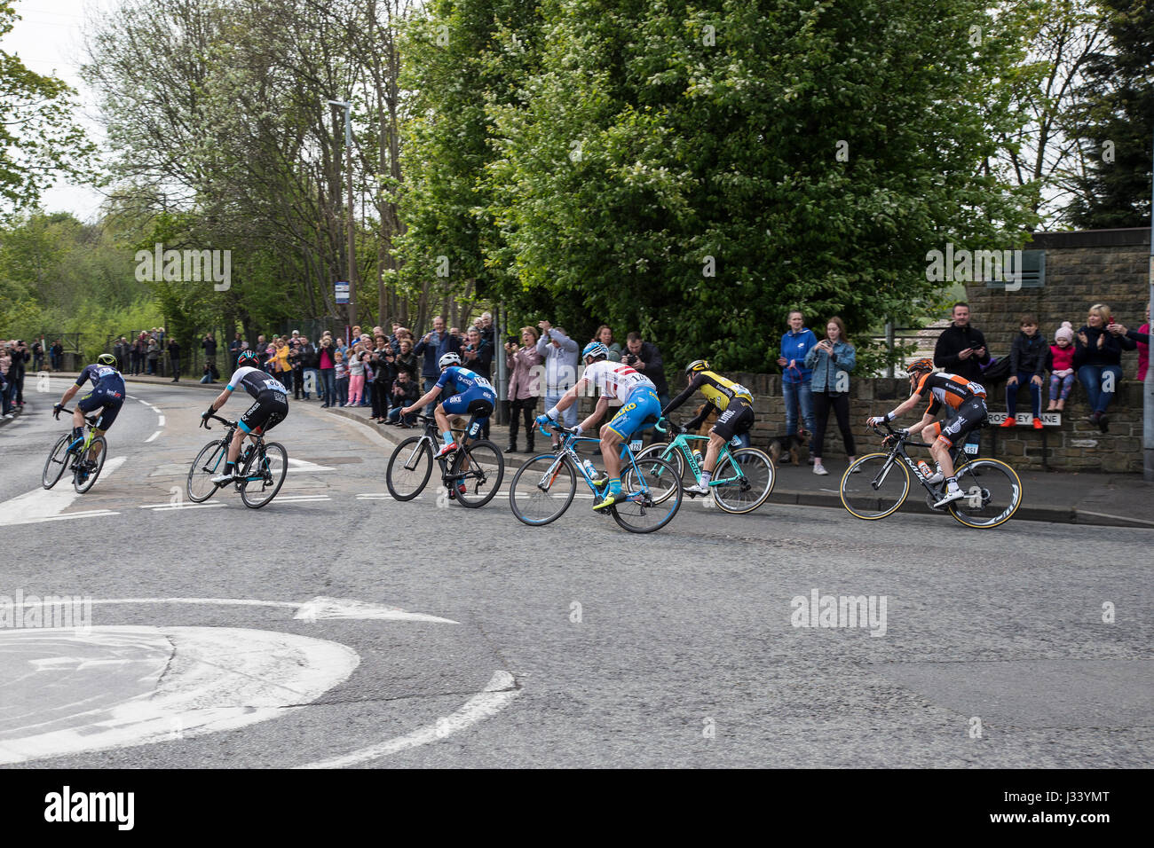 Leaders in the Tour de Yorkshire cycling event - Stock Image