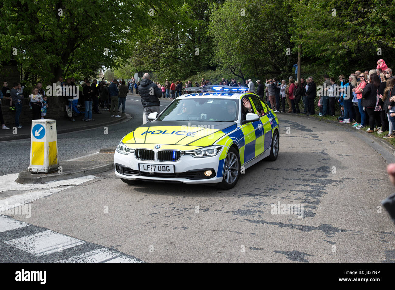 British Police car controlling crowds at public event - Stock Image