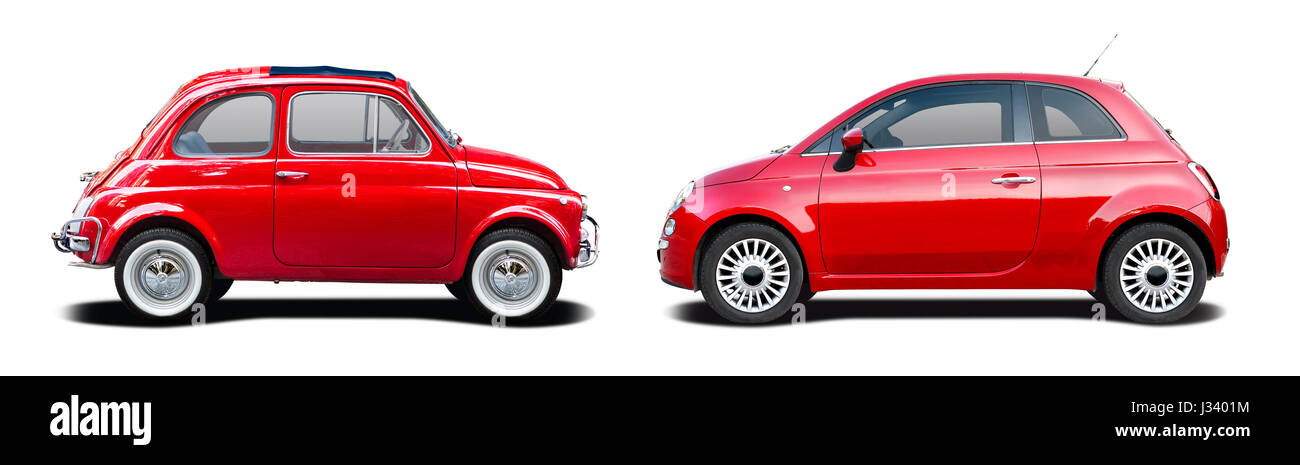 Classic car vs new car side view isolated on white - Stock Image