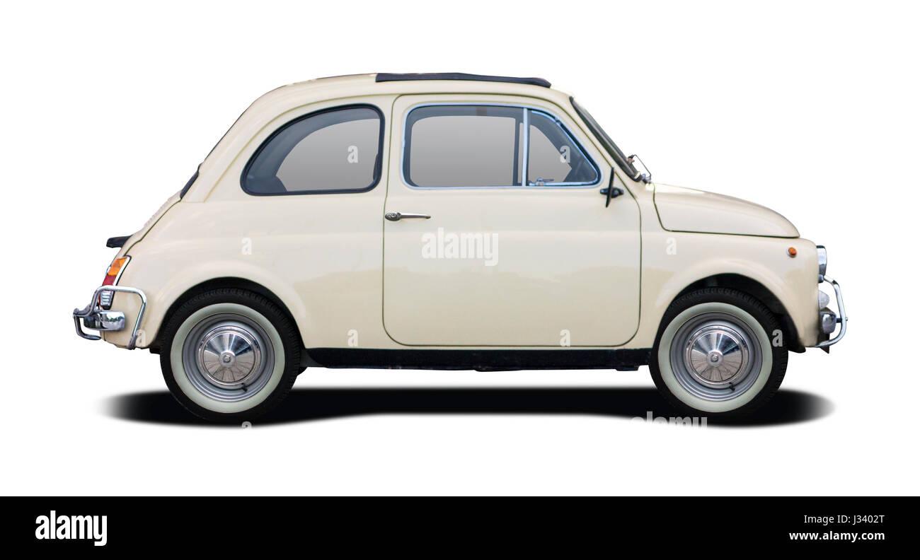 Classic Italian supermini car isolated on white - Stock Image
