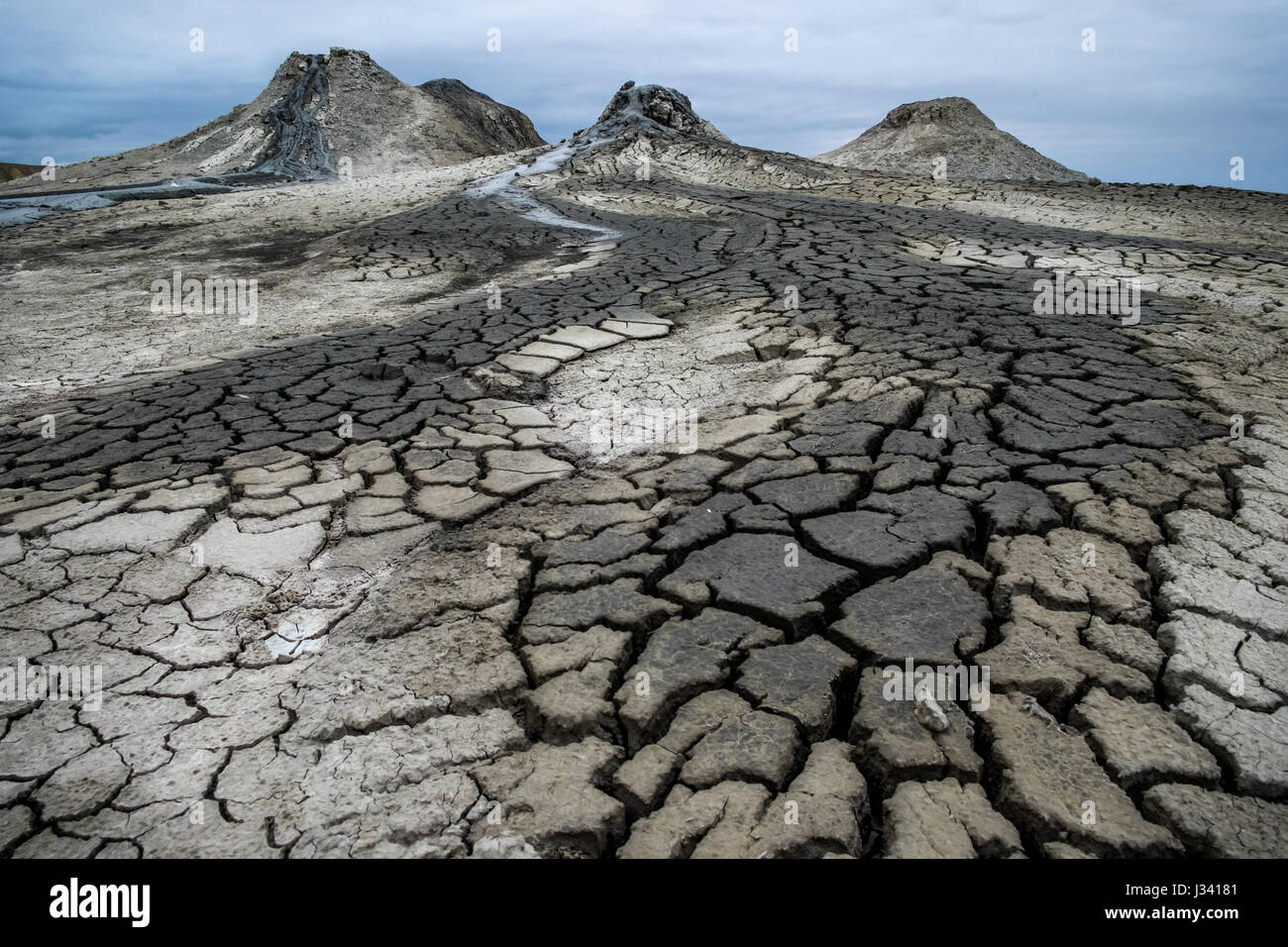 The quirky mud Volcanoes of Qobustan, Azerbaijan - Stock Image