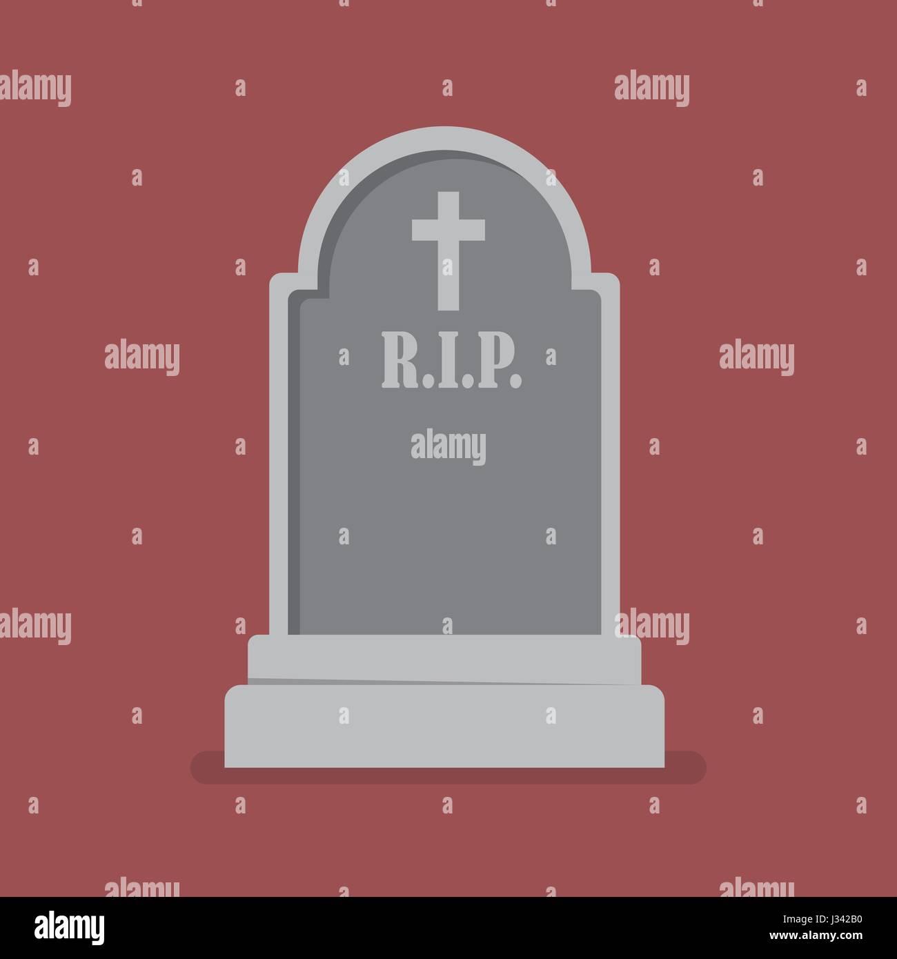 Graveyard flat style icon. Vector illustration - Stock Vector
