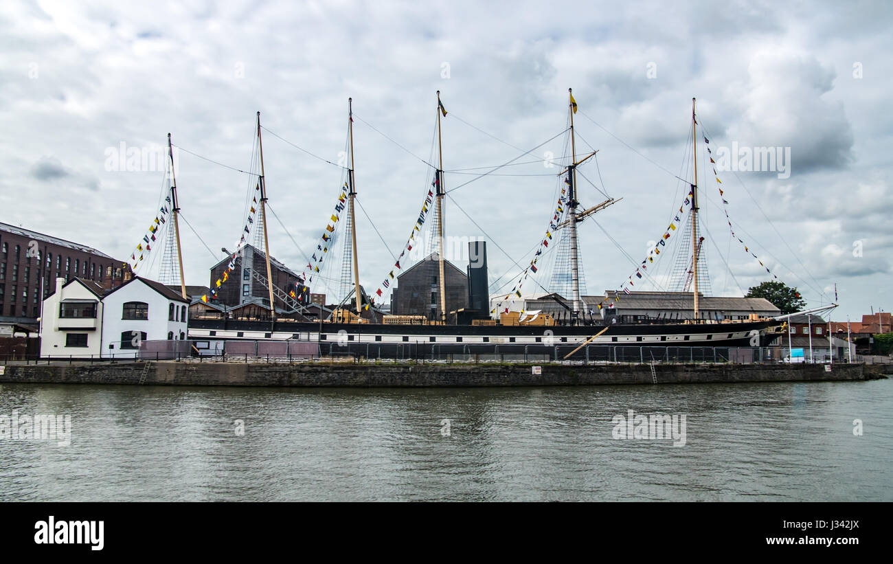 View of SS Great Britain, a famous passenger steamship in Bristol - Stock Image