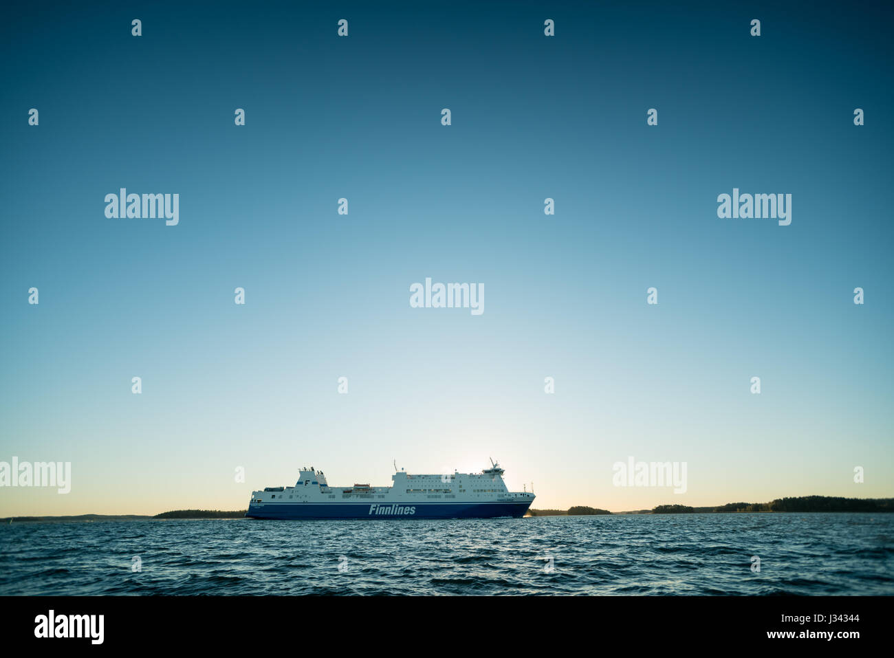 Finnlines ropax ferry seen from Ruissalo sailing towards Naantali Harbour, Finland - Stock Image