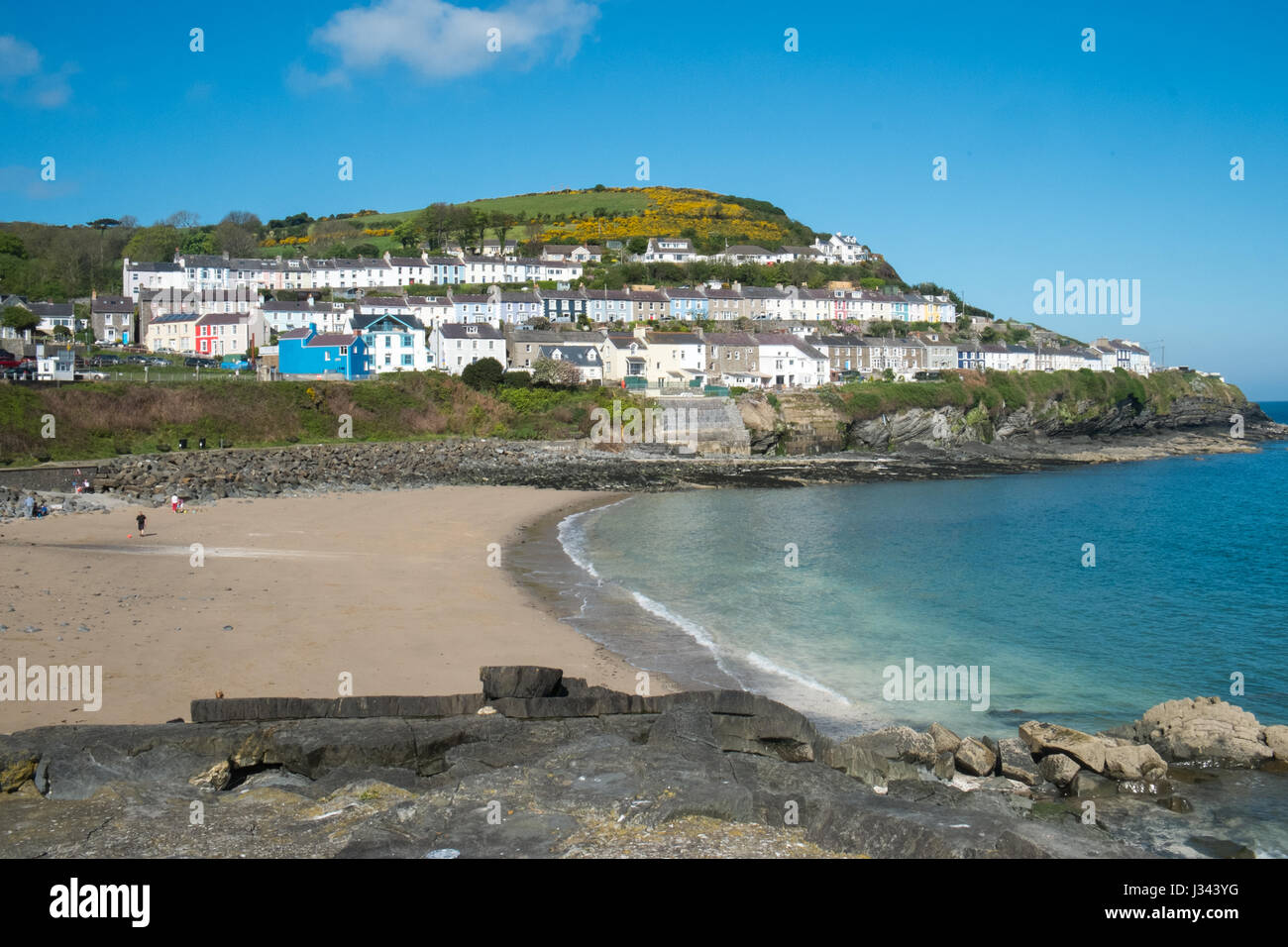 Harbour,beach,tourism,tourist,fishing,boat,trips,dolphin,watching,shop,New Quay,harbour,Cardigan Bay,Ceredigion,coast,West - Stock Image