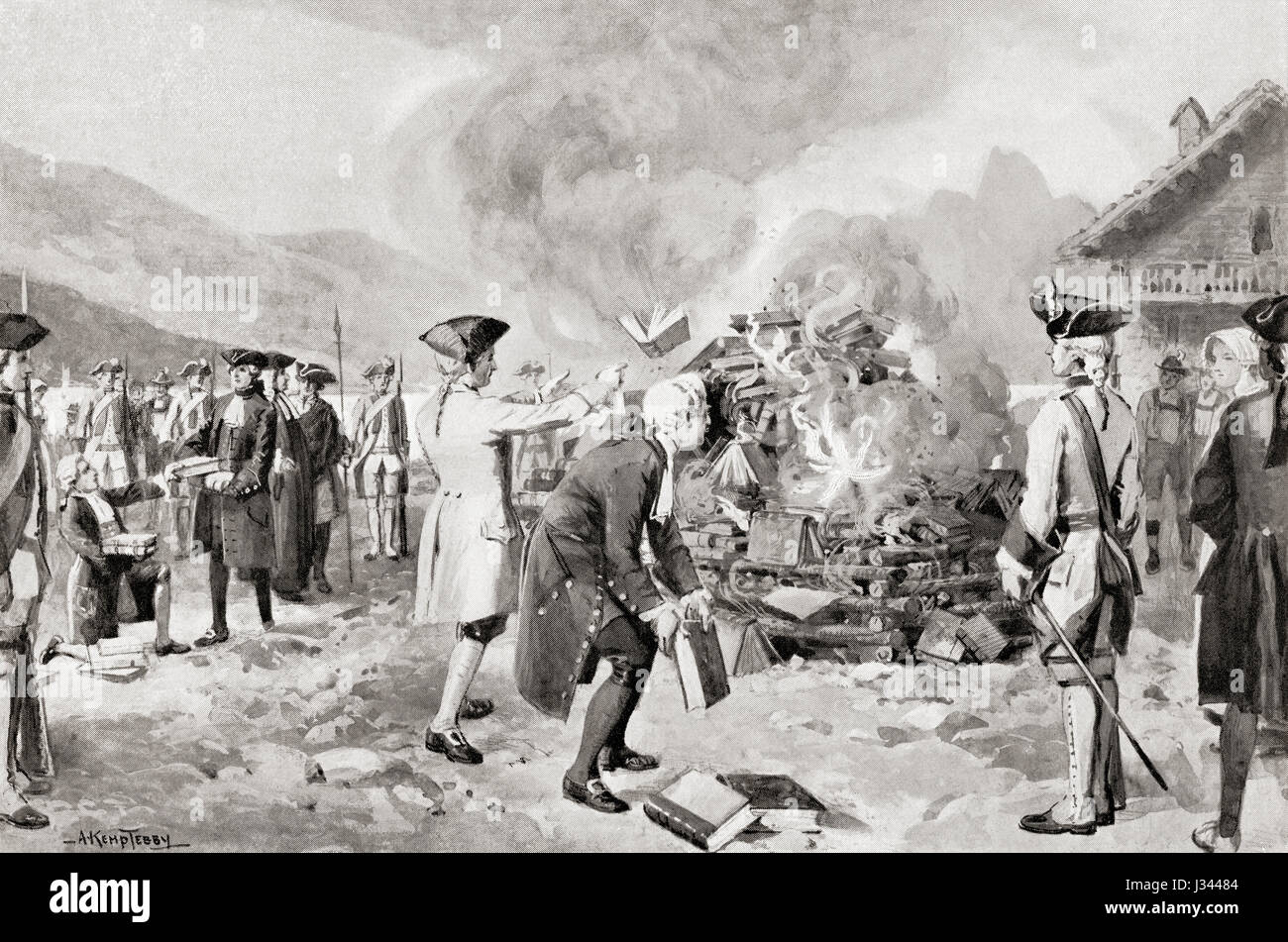 Rousseau's Contrat Social publicly burned at Geneva, Switzerland in 1763. Jean-Jacques Rousseau, 1712 – 1778. - Stock Image
