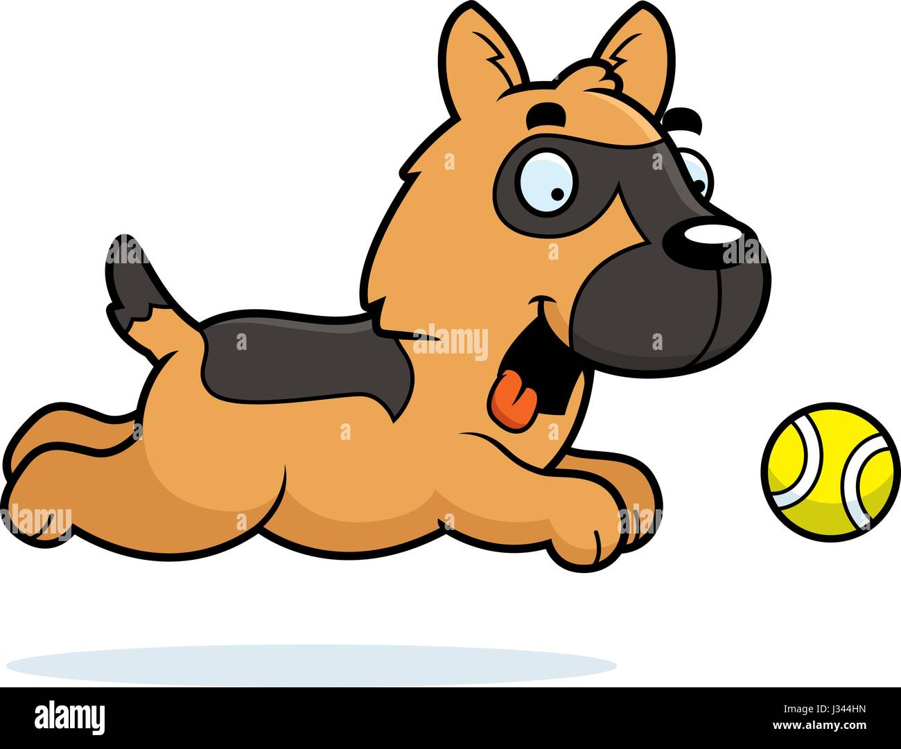 A cartoon illustration of a German Shepherd chasing a ball. - Stock Vector